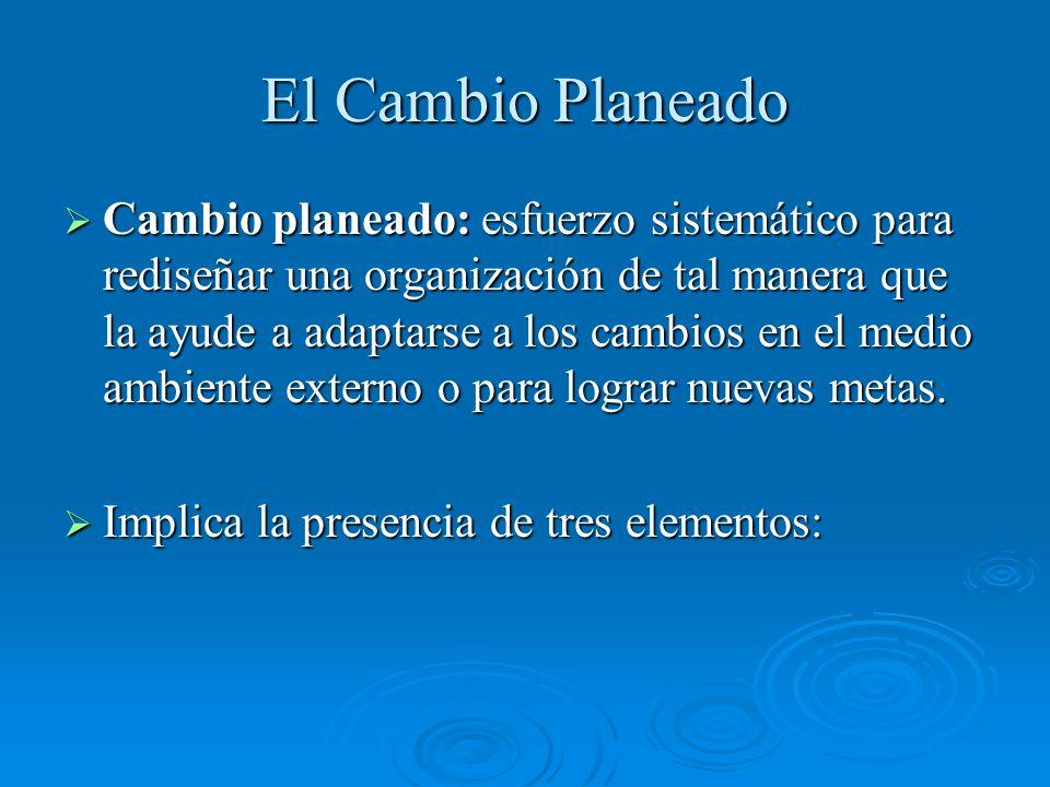 El Cambio Planeado Cambio planeado: esfuerzo sistemático para rediseñar una organización de tal manera que la ayude a adaptarse a los cambios en el me