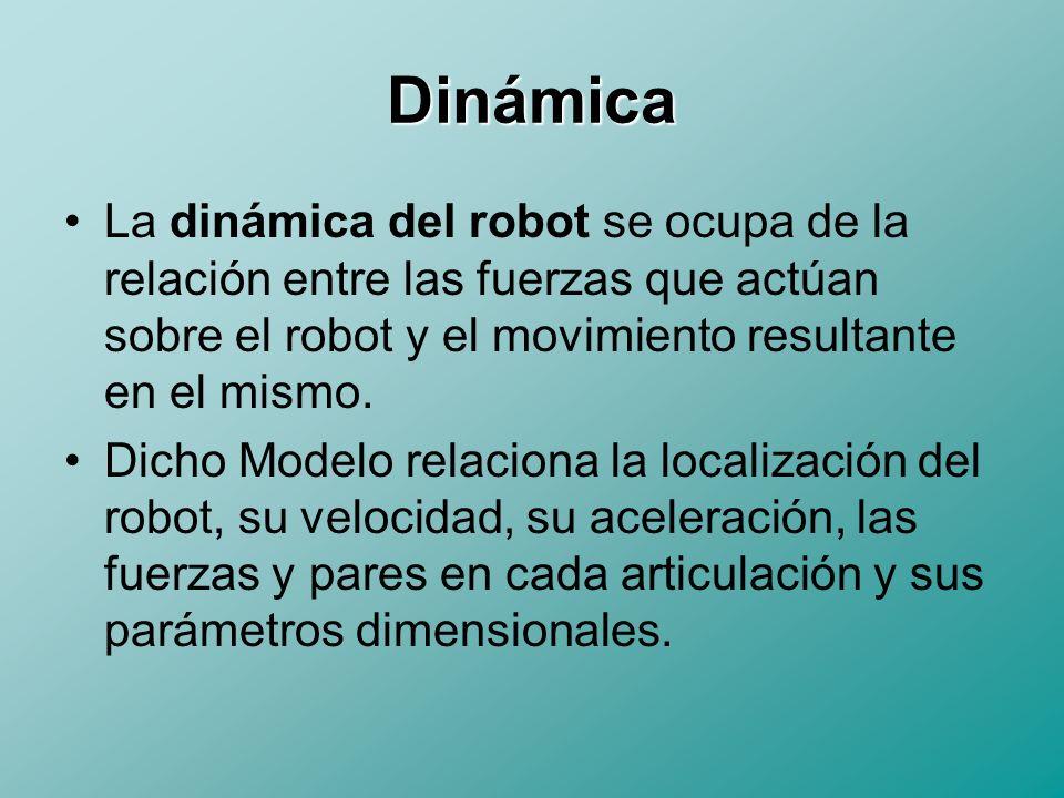 Dinámica Directa e Inversa Modelo Dinámico Directo: Expresa la evolución temporal de las coordenadas articulares del robot en función de las fuerzas y pares que intervienen.