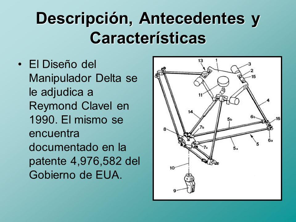 Descripción, Antecedentes y Características Tal y como lo describe la patente, el Manipulador consta de: Una base Fija (1) Una base Móvil (8) Tres brazos de Control (4) Tres Actuadores (13) Seis Eslabones de movimiento libre (5a,5b) Actuador Final (9, 10)