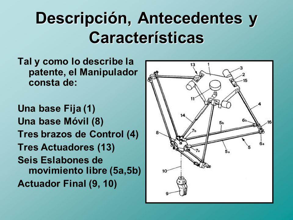 Descripción, Antecedentes y Características La familia de los Manipuladores Paralelos se caracteriza por lo siguiente: 1.Mayor Precisión y Rigidez debido a su estructura paralela.