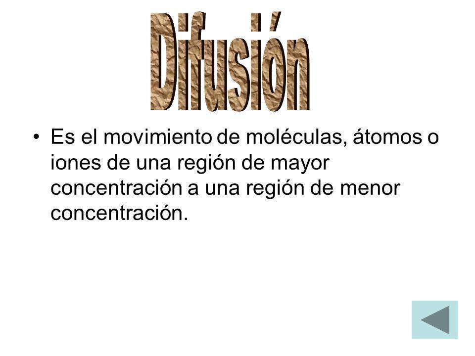 Es el movimiento de moléculas, átomos o iones de una región de mayor concentración a una región de menor concentración.