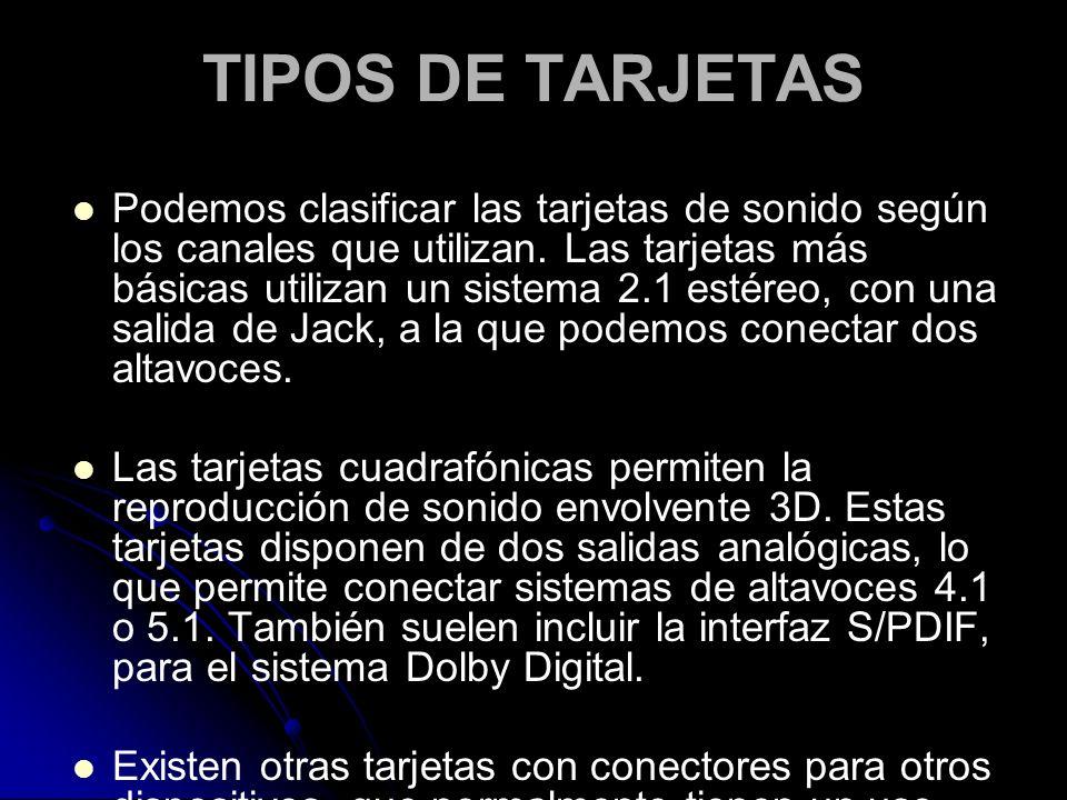 Tipos Tarjetas de Sonido Tipos de Tarjetas Podemos