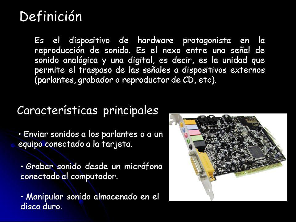 La tarjeta de sonido poseen en su interior múltiples componentes que hacen posible el procesamiento de el sonido hacia el interior o hacia al exterior del computador Componentes Buffer DSP ADC DAC Sintetizador FM (modulación de frecuencia) Sintetizador por Tabla de Ondas Mezclador Conectores