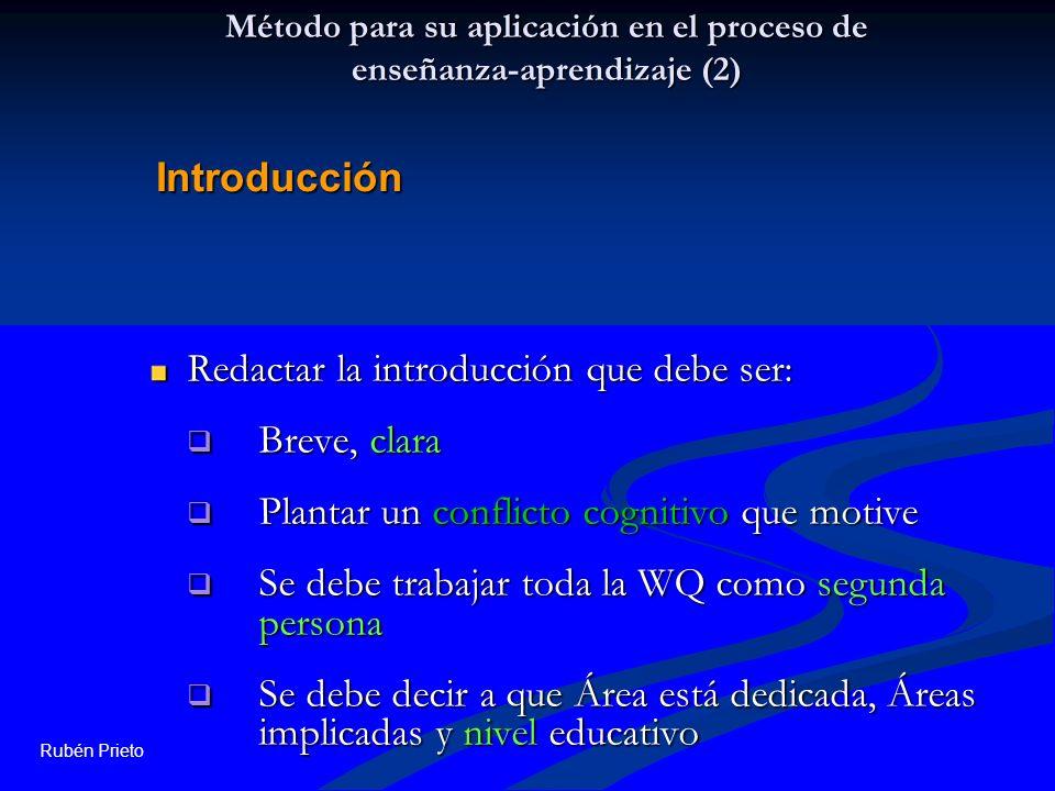 Rubén Prieto Método para su aplicación en el proceso de enseñanza-aprendizaje (2) Redactar la introducción que debe ser: Breve, clara Breve, clara Pla