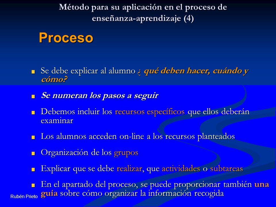 Rubén Prieto Método para su aplicación en el proceso de enseñanza-aprendizaje (4) Se debe explicar al alumno ¿ qué deben hacer, cuándo y cómo? Se nume