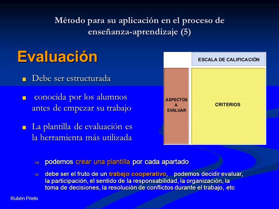 Rubén Prieto Método para su aplicación en el proceso de enseñanza-aprendizaje (5) Debe ser estructurada conocida por los alumnos antes de empezar su t