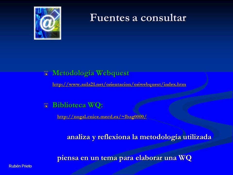 Rubén Prieto Fuentes a consultar Metodología Webquest http://www.aula21.net/orientacion/oriwebquest/index.htm Metodología Webquest http://www.aula21.n