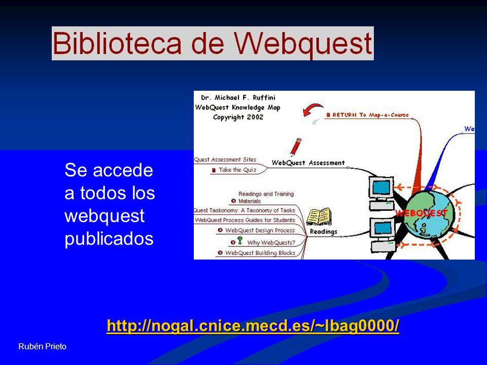 Rubén Prieto http://nogal.cnice.mecd.es/~lbag0000/ Se accede a todos los webquest publicados