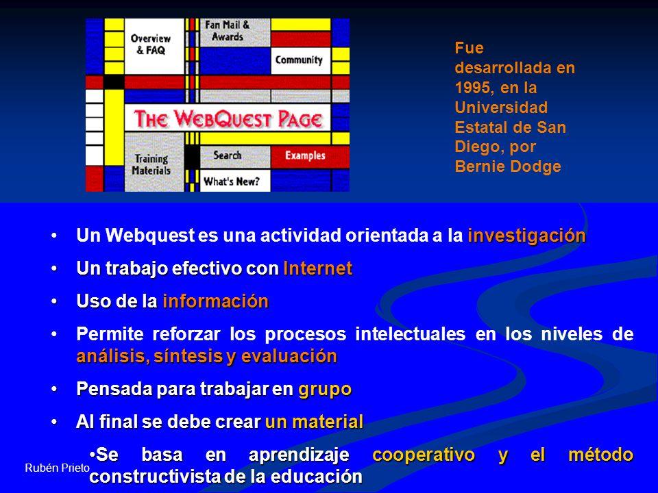 Rubén Prieto investigaciónUn Webquest es una actividad orientada a la investigación Un trabajo efectivo con InternetUn trabajo efectivo con Internet U