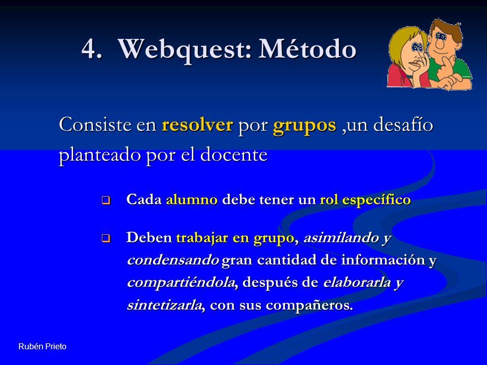 Rubén Prieto 4. Webquest: Método Consiste en resolver por grupos,un desafío planteado por el docente Cada alumno debe tener un rol específico Cada alu