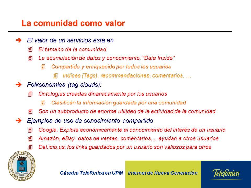 Cátedra Telefónica en UPM Internet de Nueva Generación èEl valor de un servicios esta en 4El tamaño de la comunidad 4La acumulación de datos y conocim