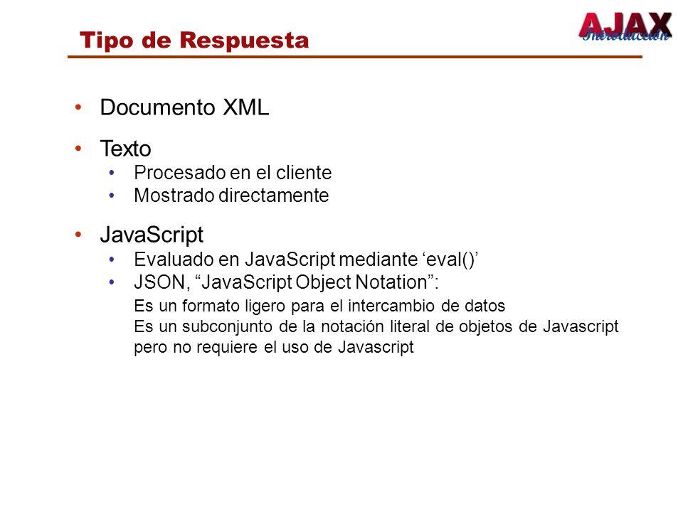 Tipo de Respuesta Documento XML Texto Procesado en el cliente Mostrado directamente JavaScript Evaluado en JavaScript mediante eval() JSON, JavaScript