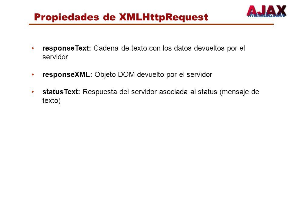 Propiedades de XMLHttpRequest responseText: Cadena de texto con los datos devueltos por el servidor responseXML: Objeto DOM devuelto por el servidor s