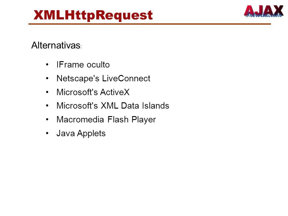 XMLHttpRequest Alternativas : IFrame oculto Netscape's LiveConnect Microsoft's ActiveX Microsoft's XML Data Islands Macromedia Flash Player Java Apple