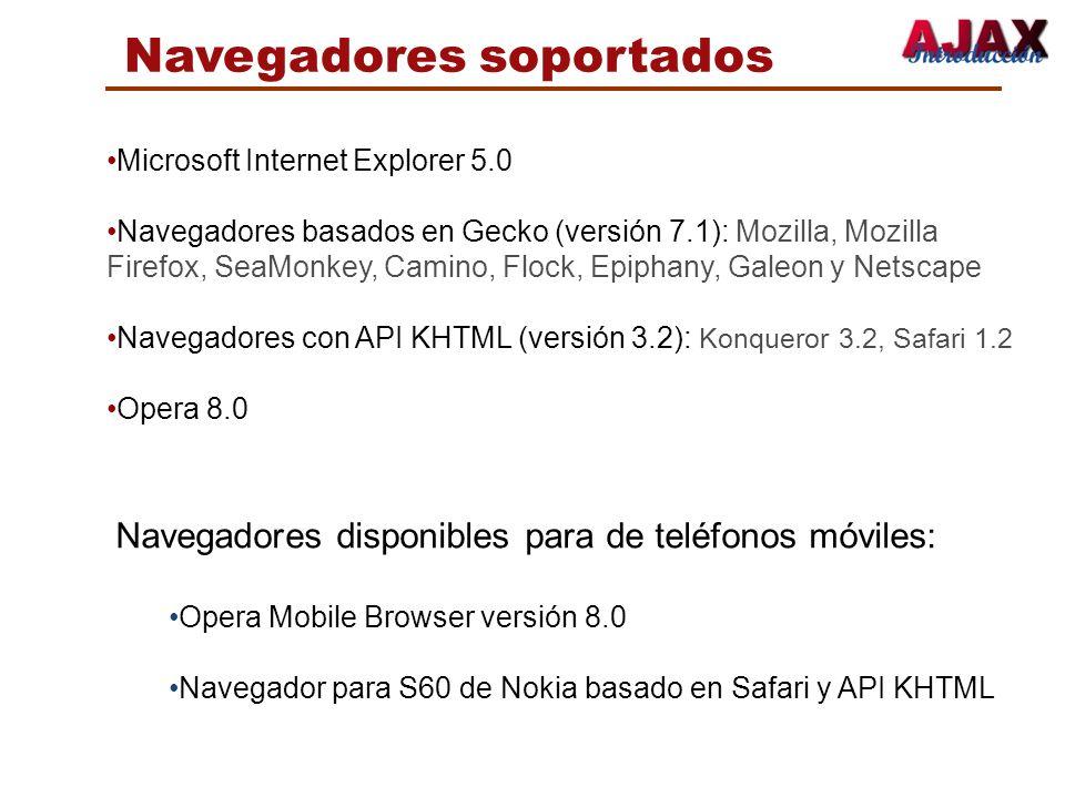 Navegadores soportados Microsoft Internet Explorer 5.0 Navegadores basados en Gecko (versión 7.1): Mozilla, Mozilla Firefox, SeaMonkey, Camino, Flock,
