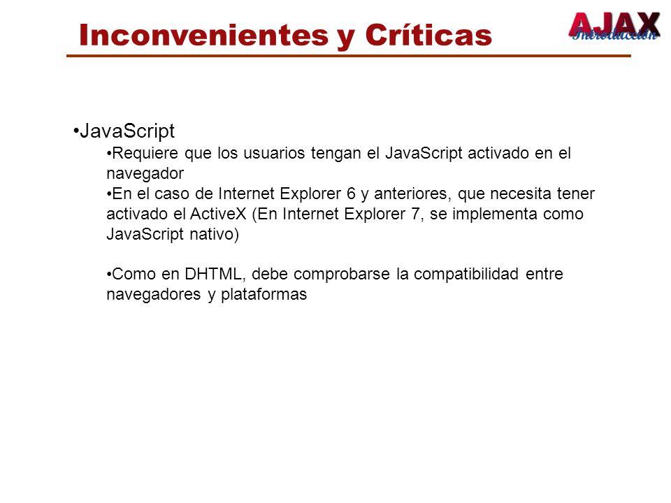Inconvenientes y Críticas JavaScript Requiere que los usuarios tengan el JavaScript activado en el navegador En el caso de Internet Explorer 6 y anter