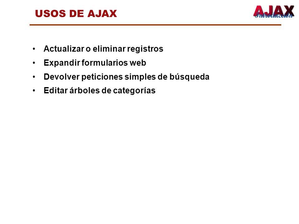 USOS DE AJAX Actualizar o eliminar registros Expandir formularios web Devolver peticiones simples de búsqueda Editar árboles de categorías