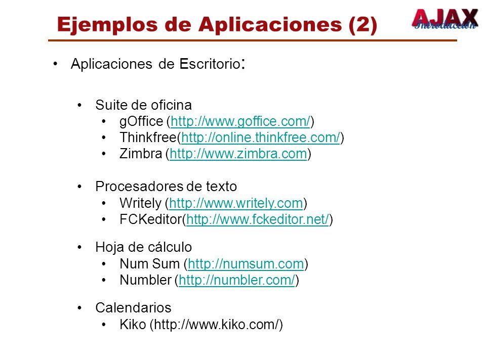 Ejemplos de Aplicaciones (2) Aplicaciones de Escritorio : Suite de oficina gOffice (http://www.goffice.com/)http://www.goffice.com/ Thinkfree(http://o