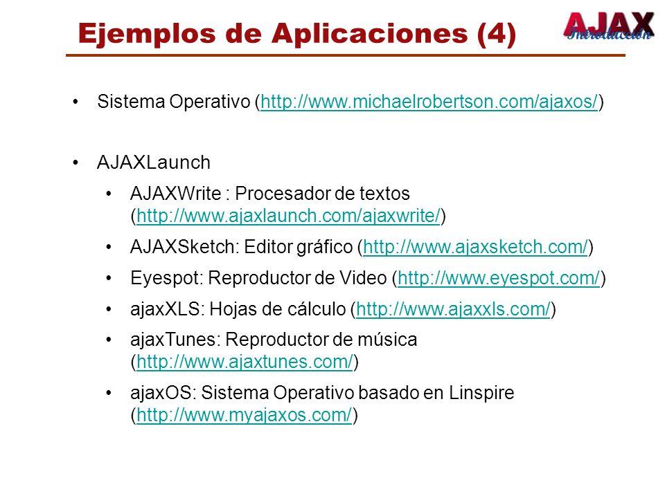 Ejemplos de Aplicaciones (4) Sistema Operativo (http://www.michaelrobertson.com/ajaxos/)http://www.michaelrobertson.com/ajaxos/ AJAXLaunch AJAXWrite :