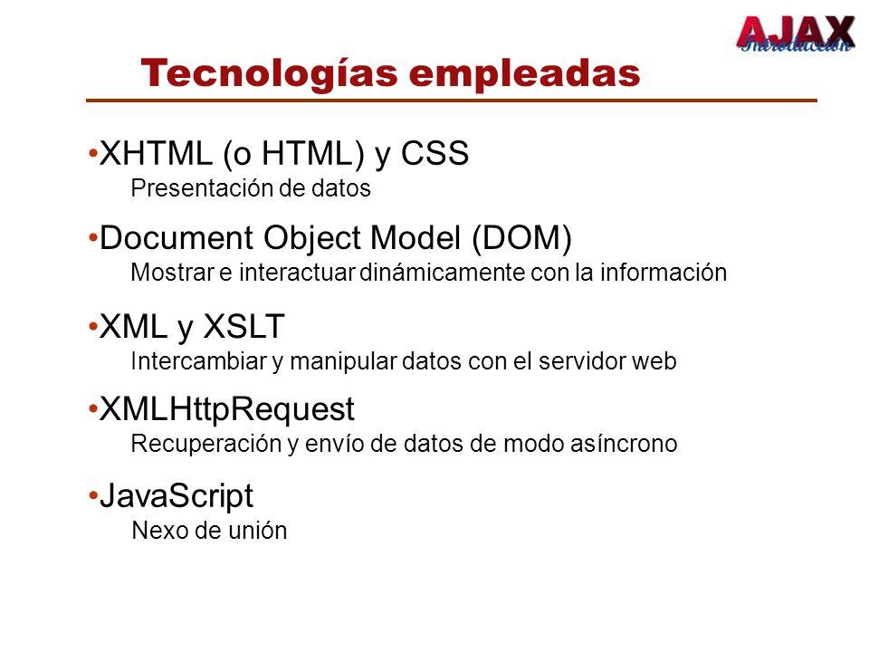 Tecnologías empleadas XHTML (o HTML) y CSS Presentación de datos Document Object Model (DOM) Mostrar e interactuar dinámicamente con la información XM