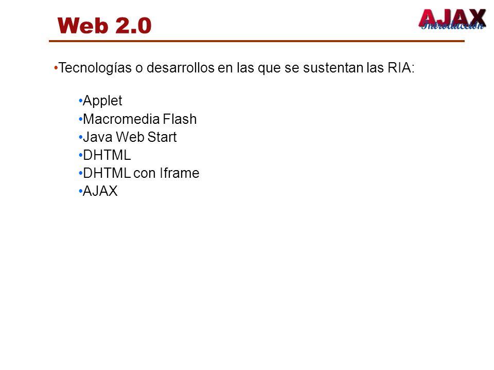Tecnologías o desarrollos en las que se sustentan las RIA: Applet Macromedia Flash Java Web Start DHTML DHTML con Iframe AJAX Web 2.0