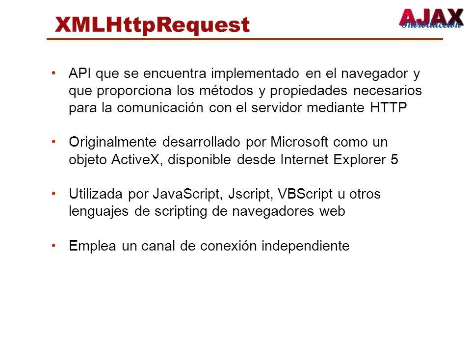 XMLHttpRequest API que se encuentra implementado en el navegador y que proporciona los métodos y propiedades necesarios para la comunicación con el se