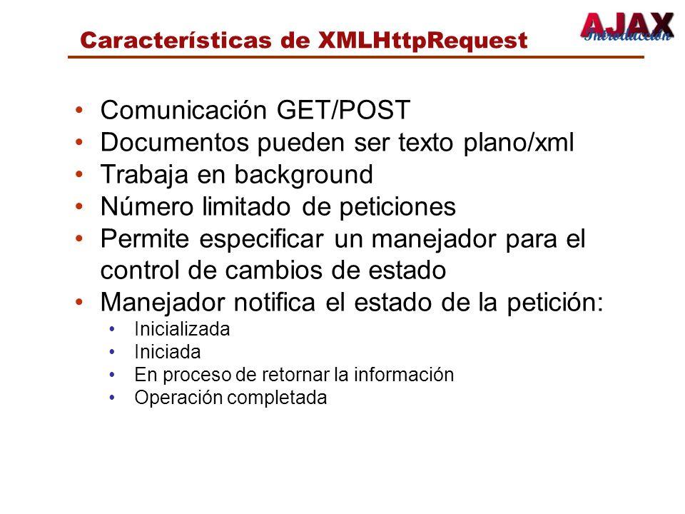 Características de XMLHttpRequest Comunicación GET/POST Documentos pueden ser texto plano/xml Trabaja en background Número limitado de peticiones Perm