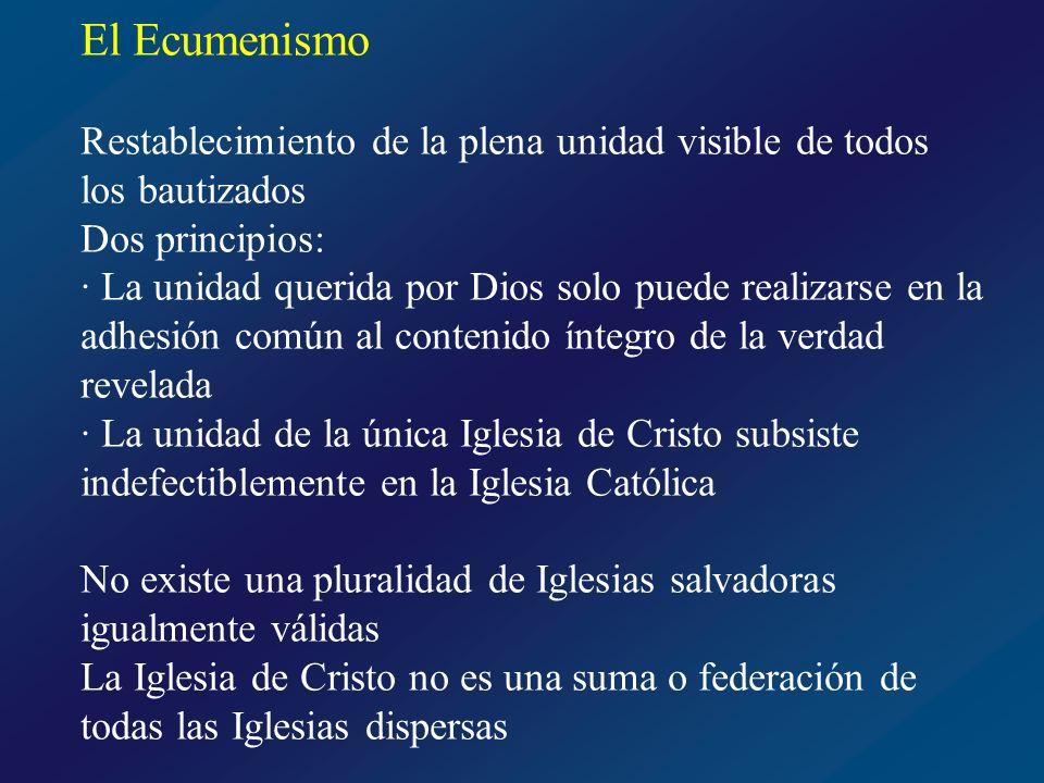 El Ecumenismo No existe una pluralidad de Iglesias salvadoras igualmente válidas La Iglesia de Cristo no es una suma o federación de todas las Iglesias dispersas En este empeño ecuménico tiene prioritaria importancia la oración las penitencia, el estudio, el diálogo y la colaboración Concierne a todos los fieles Octavario de oración por la unidad de los cristianos