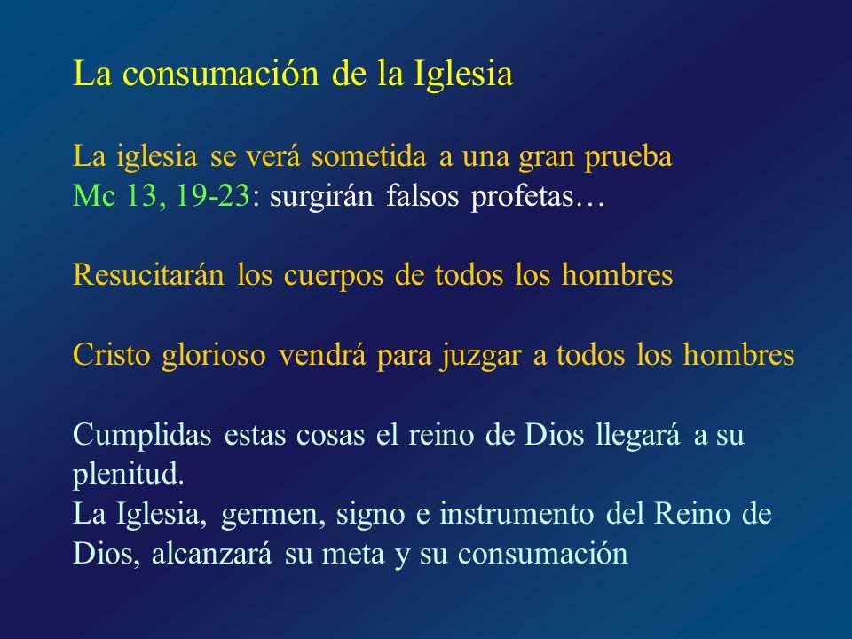 María, Madre de la Iglesia Lumen gentium, 54: La Santísima Virgen, después de Cristo ocupa en la Santa Iglesia el lugar más alto y a la vez más próximo a nosotros María precede a la Iglesia: Su concepción inmaculada es el primer acto redentor de Cristo Está activamente presente en todo momento de la fundación de la Iglesia