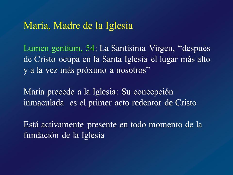 María, Madre de la Iglesia Considerada por la Iglesia desde siempre Madre de los fieles cristianos Pablo VI en 1964 la proclamó con el título no dogmático de MADRE DE LA IGLESIA