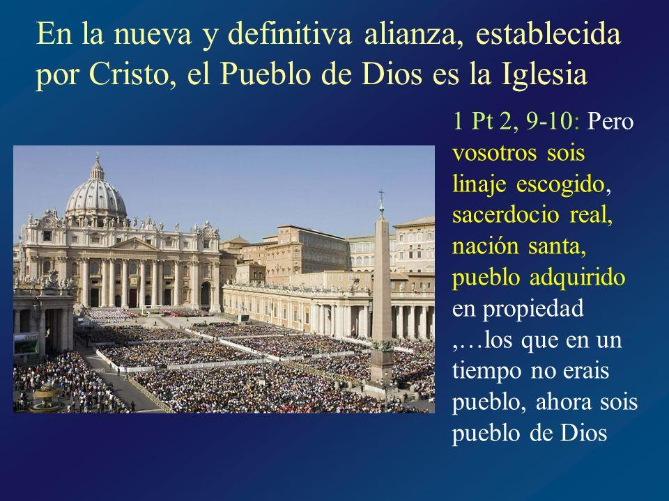 Las imágenes de la Iglesia Pueblo de Dios Lumen gentium : · ofrece sacrificios · tiene a Cristo como cabeza · la ciudadanía se adquiere por el nacimiento por el Espíritu Santo · su ley es el nuevo mandamiento del amor · su fin es dilatar el Reino de Dios · es instrumento de Jesucristo para la redención · peregrina en la tierra hasta la consumación del Reino de Dios