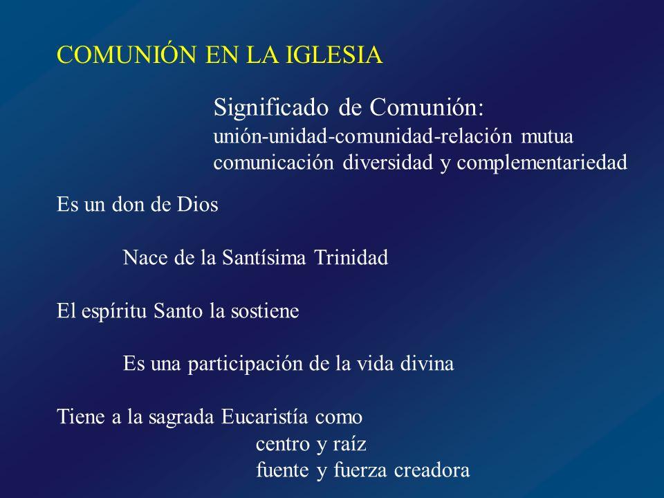 COMUNIÓN EN LA IGLESIA DIOS UNO Y TRINO FIEL n FIEL m En la realidad invisible de la Iglesia En la realidad visible de la Iglesia jerarquía sacramentos Doctrina apostólica fieles