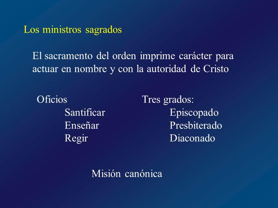 Los ministros sagrados El sacramento del orden imprime carácter para actuar en nombre y con la autoridad de Cristo Oficios Santificar Enseñar Regir Tr