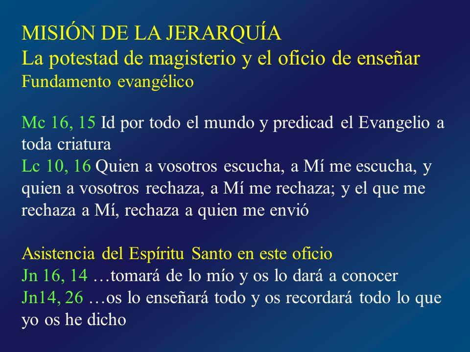 La potestad de magisterio y el oficio de enseñar El primer deber de la jerarquía: anunciar a todos el Evangelio de Dios Evangelio de Dios · Tesoro completo de doctrina salvadora que Cristo ha dejado a la Iglesia · Depósito de la Fe o de la Revelación contenido en Sagrada Escritura Tradición