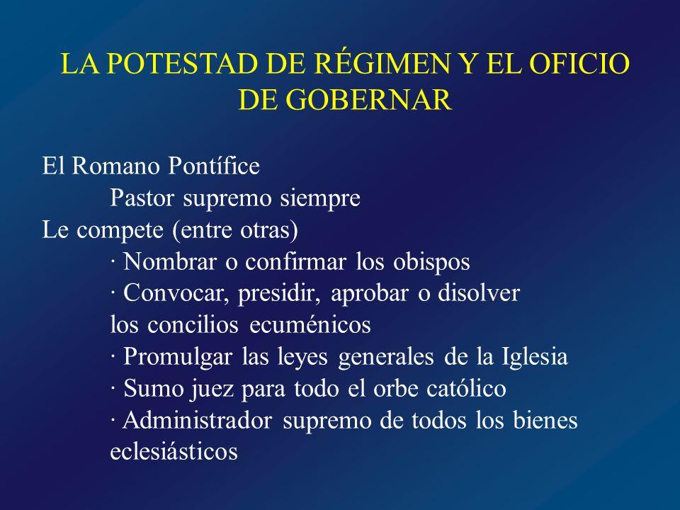 LA POTESTAD DE RÉGIMEN Y EL OFICIO DE GOBERNAR El Obispo en su diócesis Rige como vicario y legado de Cristo en comunidad con el Papa y bajo su autoridad Potestad legislativa.