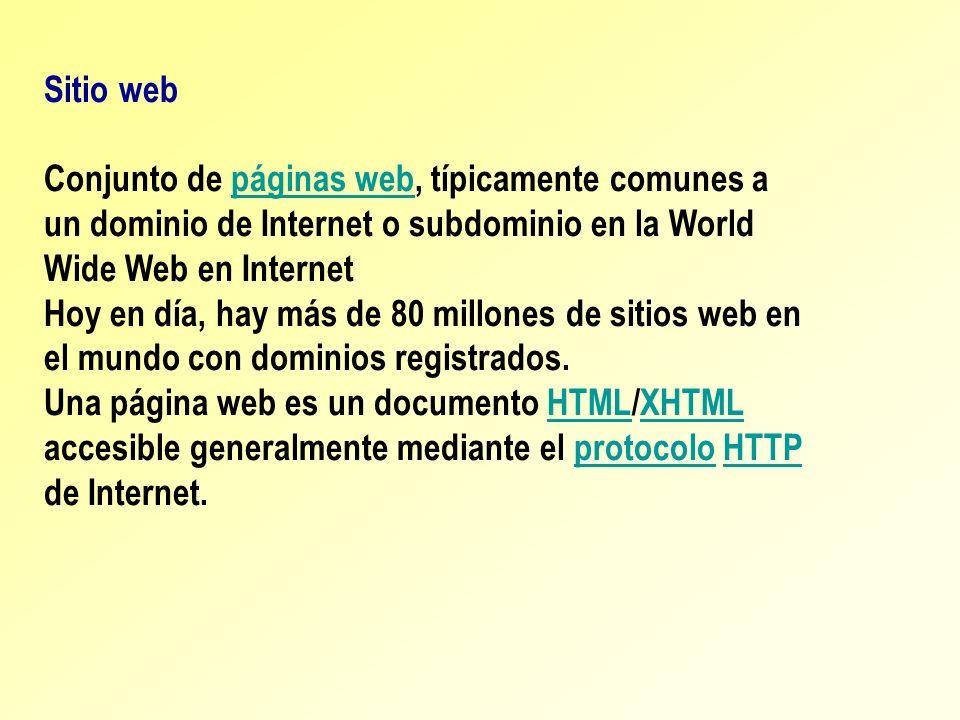 Sitio web Conjunto de páginas web, típicamente comunes a un dominio de Internet o subdominio en la World Wide Web en Internetpáginas web Hoy en día, h
