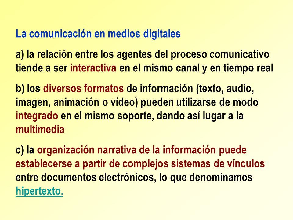 La comunicación en medios digitales a) la relación entre los agentes del proceso comunicativo tiende a ser interactiva en el mismo canal y en tiempo r