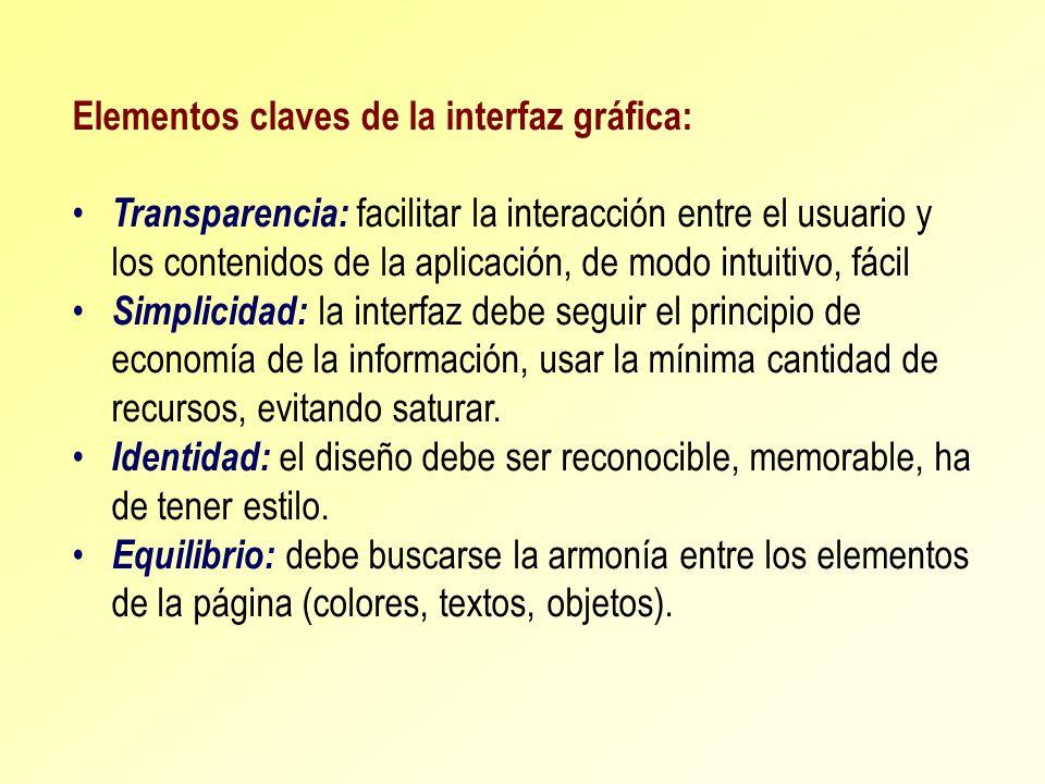 Elementos claves de la interfaz gráfica: Transparencia: facilitar la interacción entre el usuario y los contenidos de la aplicación, de modo intuitivo