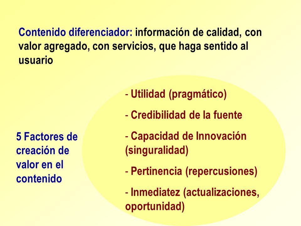 Contenido diferenciador: información de calidad, con valor agregado, con servicios, que haga sentido al usuario - Utilidad (pragmático) - Credibilidad