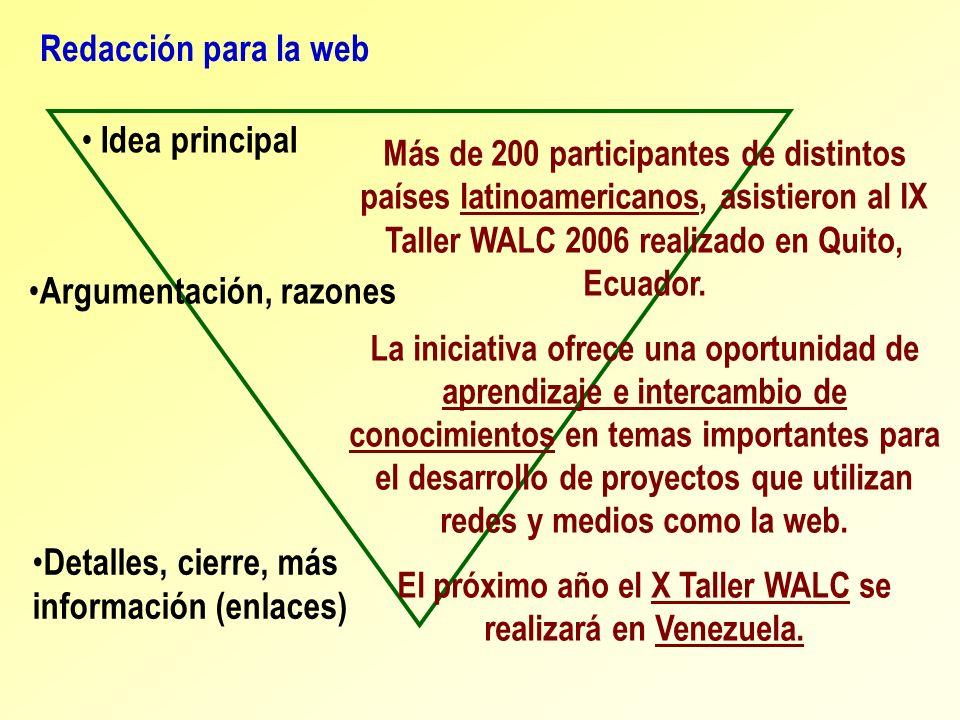 Redacción para la web Más de 200 participantes de distintos países latinoamericanos, asistieron al IX Taller WALC 2006 realizado en Quito, Ecuador. La