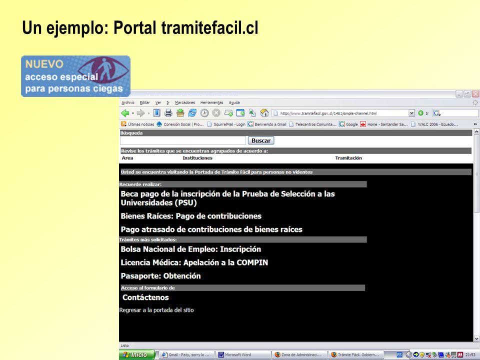 Un ejemplo: Portal tramitefacil.cl