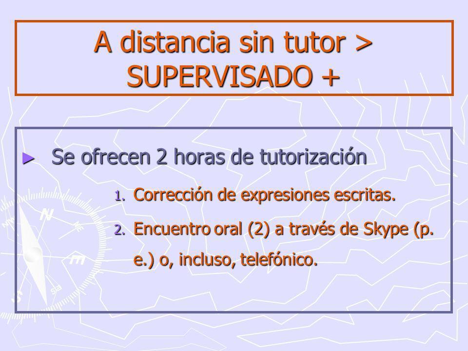 A distancia sin tutor > SUPERVISADO + Se ofrecen 2 horas de tutorización Se ofrecen 2 horas de tutorización 1.