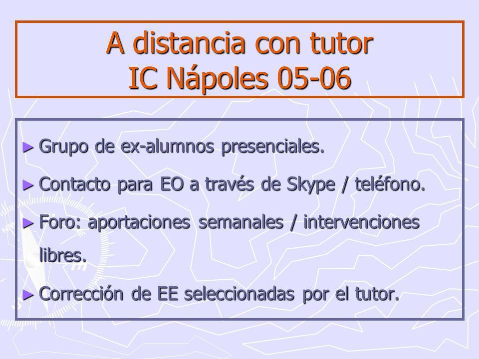 A distancia con tutor IC Nápoles 05-06 Grupo de ex-alumnos presenciales.