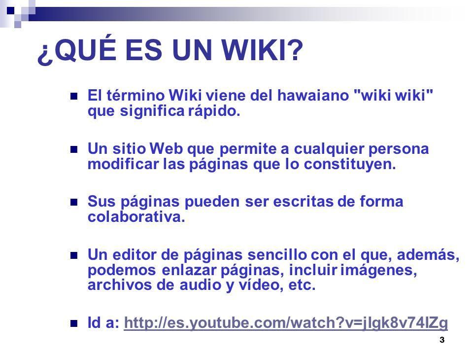 3 ¿QUÉ ES UN WIKI? El término Wiki viene del hawaiano