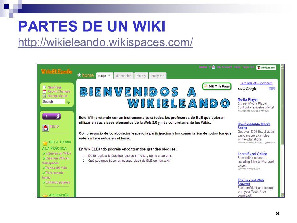 19 PARTES DE UN WIKI http://wikieleando.wikispaces.com/ http://wikieleando.wikispaces.com/