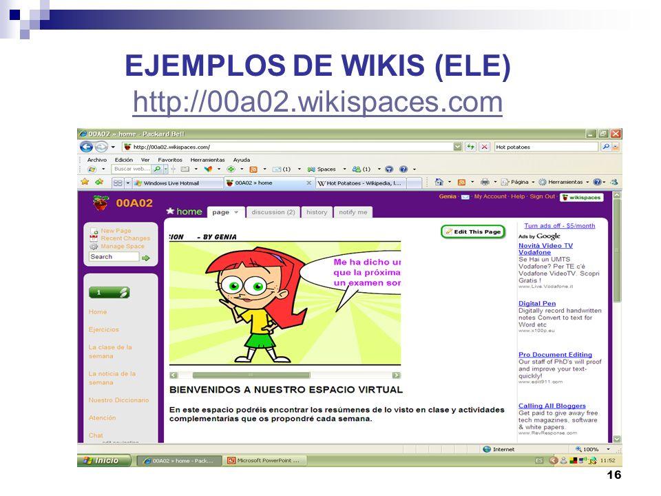 17 EJEMPLOS DE WIKIS (ELE)