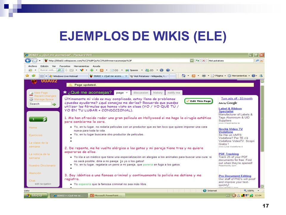 18 EJEMPLOS DE WIKIS (ELE)