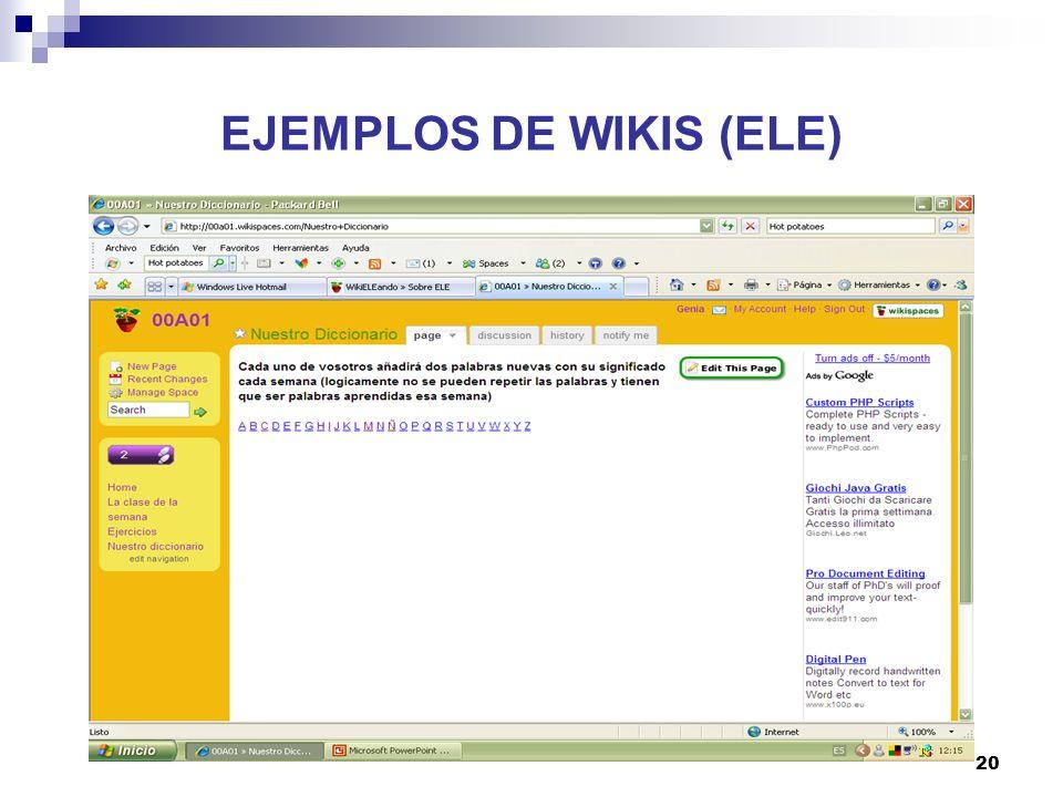 21 EJEMPLOS DE WIKIS (ELE)