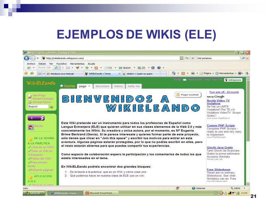 22 EJEMPLOS DE WIKIS (ELE)
