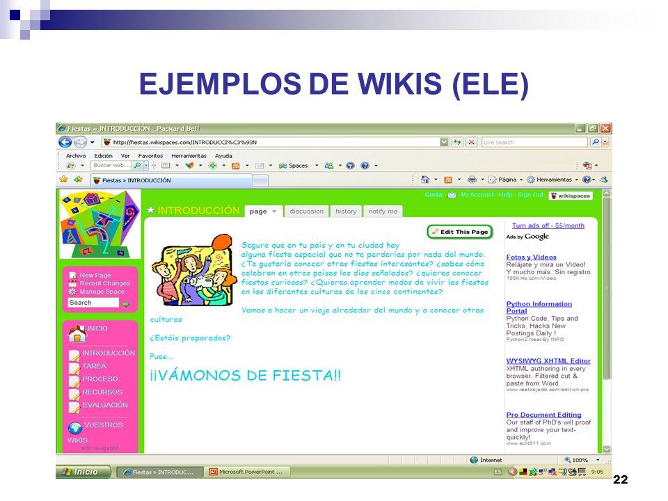 23 EJEMPLOS DE WIKIS (ELE)